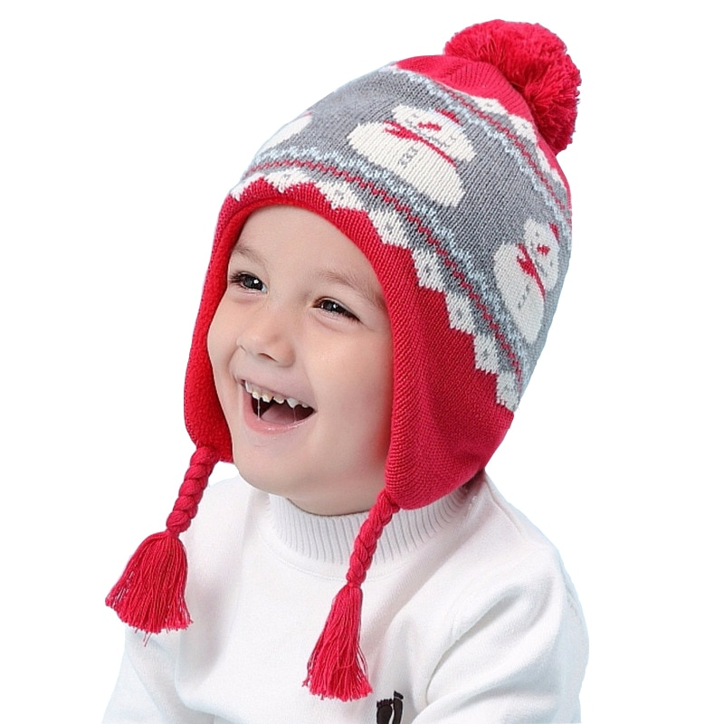 Christmas Gift Toddler Baby Girls Boys Winter Hat Snowman Warm Knitted Cap Children for 6 Month To 8 Years Old Kids Red