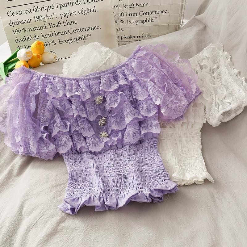 lace blouse for women slash neck puff sleeve tops ruffles slim waist short design 2020 summer new clothing