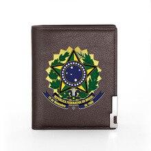 สัญลักษณ์แห่งชาติของบราซิลการพิมพ์กระเป๋าสตางค์หนังผู้หญิงบัตรเครดิตBifoldกระเป๋าสตางค์ชา...