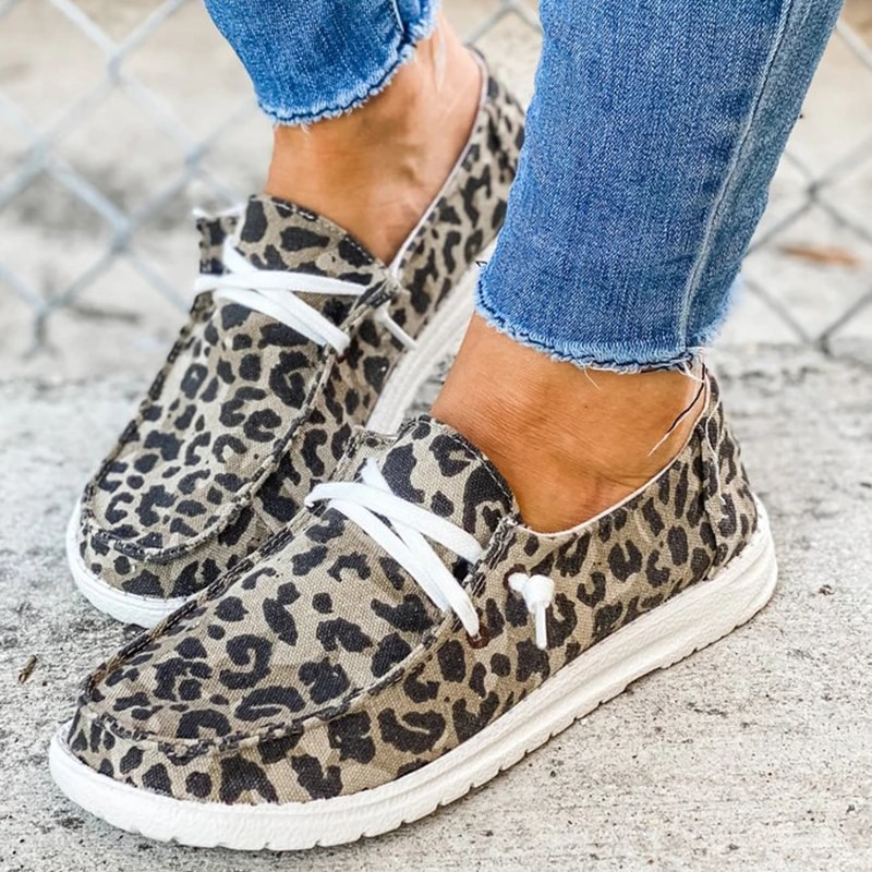 2021 Women Sneakers Canvas Shoes Solid Leopard Breathable Casual Sneakers Woman Flats Spring Lace Up