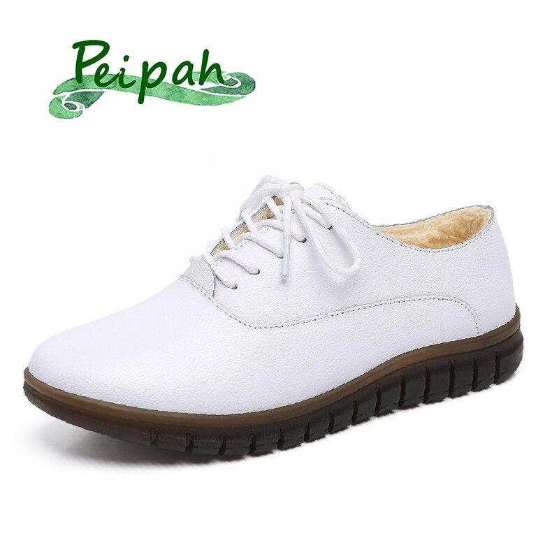 Inverno de Pelúcia Sapatos de Algodão Peipah Novo Couro Genuíno Sapatos Femininos Senhoras Plataforma Sola Macia Oxfords Feminino Casual Não-deslizamento Quente
