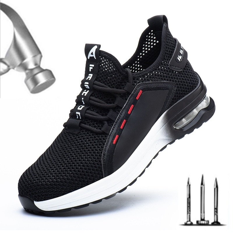 Lightweight Breathable Sneakers Men and Women Steel Toe Cap Work Safety Shoes Puncture-Proof Boots I