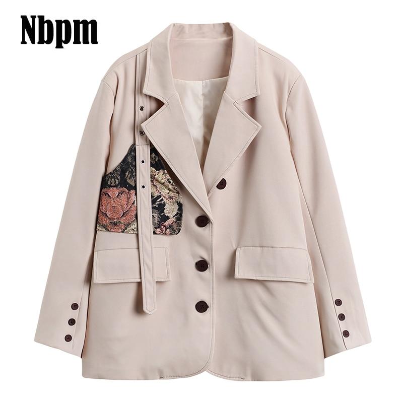 2021 Women Fashion Office Wear Single Button Blazer Coat Vintage Long Sleeve Jacquard Female Outerwe