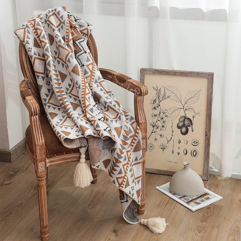 الاكريليك محبوك البوهيمي شال بطانية ، قيلولة بطانية ، بطانية الشتاء ، غطاء أريكة بطانية