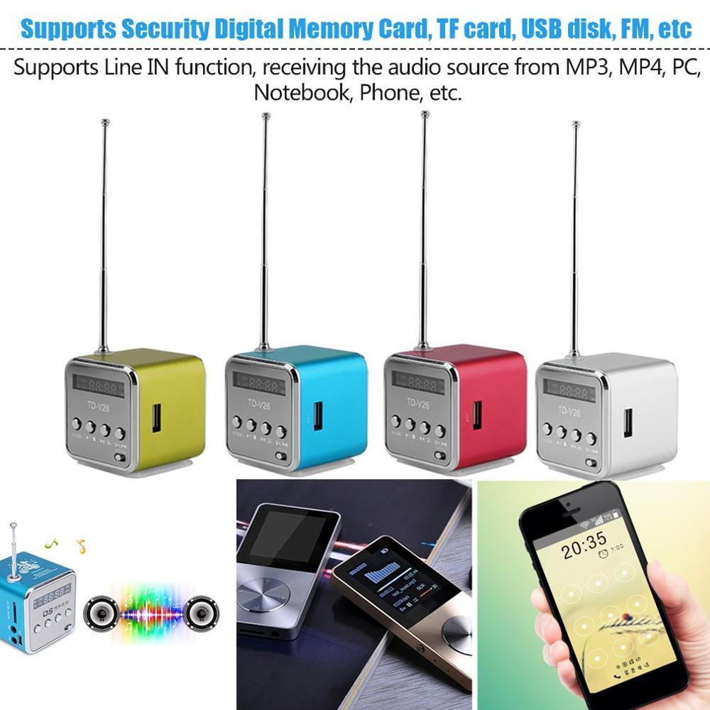 Minialtavoz portátil con radio FM, TD-V26 de aluminio digital, SD, TF, USB,...
