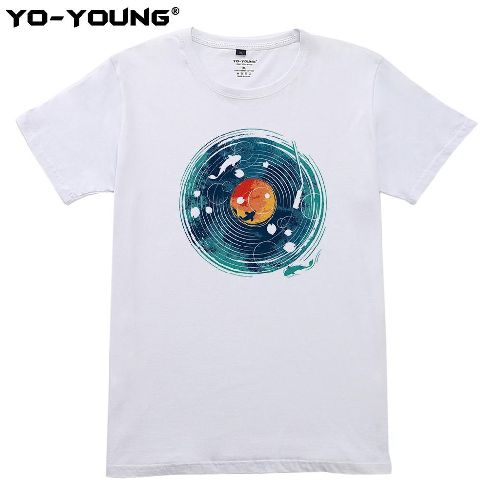 Camisas ocasionais de t unissex 100% algodão dj peixe imprimir t-shirts para jovens meninas meninos t camisas unissex verão steetwear impressão sob demanda