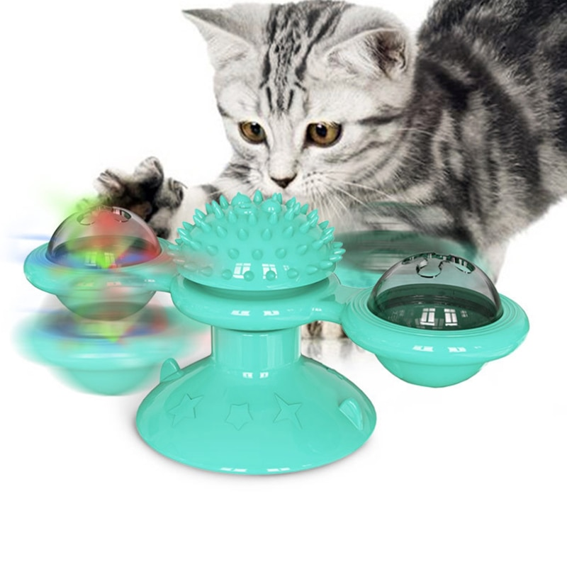 1PC Interactive Cat Toy Windmill Portable Scratch Hair Brush Grooming Shedding Massage Suction Cup Catnip Cats Training Toy