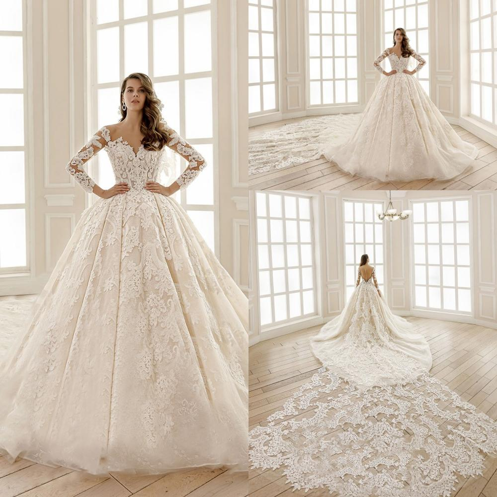 2020 vestido de baile vestidos de novia cuello pico manga larga Apliques de encaje vestidos de novia hechos a medida botón Atrás vestido de novia de tren largo