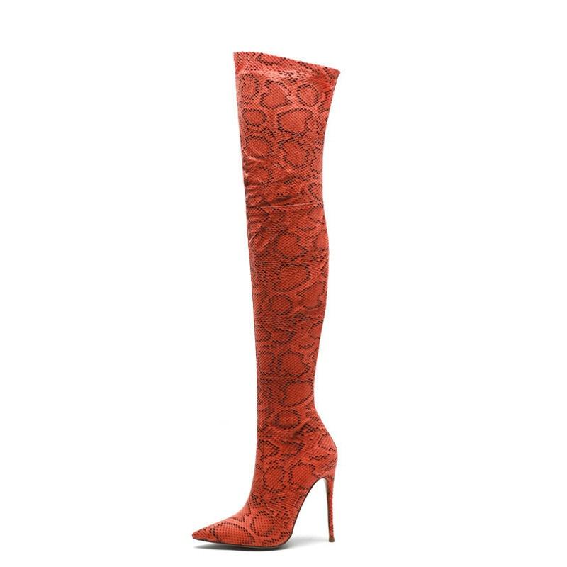 Yechne pele de cobra mulher alta gancho botas mulher sobre os joelhos laarzen sexy dij alta laarzen moda snakeskin sexy sapatos 2019