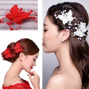 Wedding Bridal Bridesmaid Red White Crystal Pearl Butterfly Hairwear Hair Pin Women Hair Styling Accessories