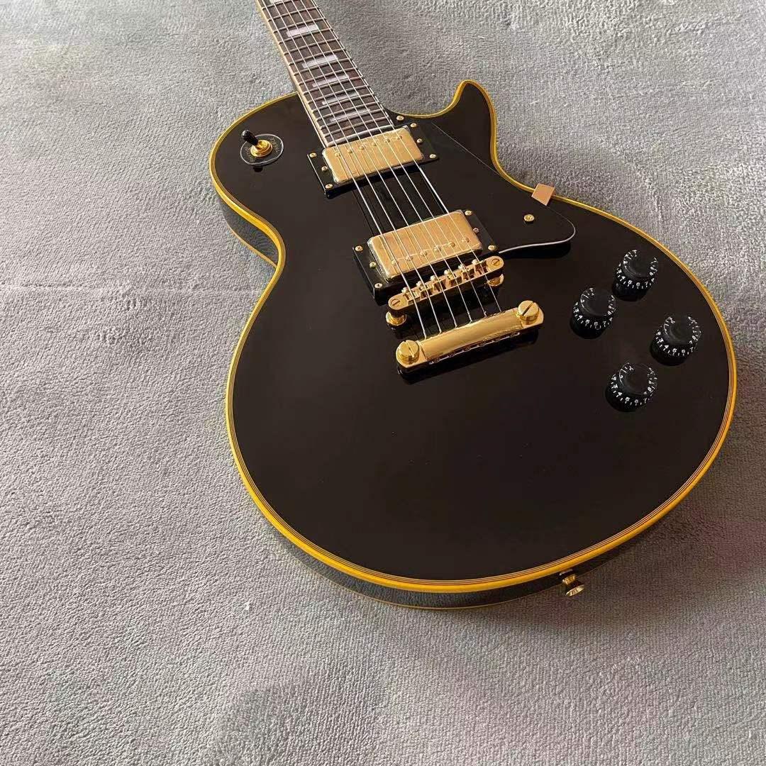 Custom Electric Guitar.Rosewood fingerboard.Mahogany body.Black color 6 stings guitarra.Golden hardware enlarge