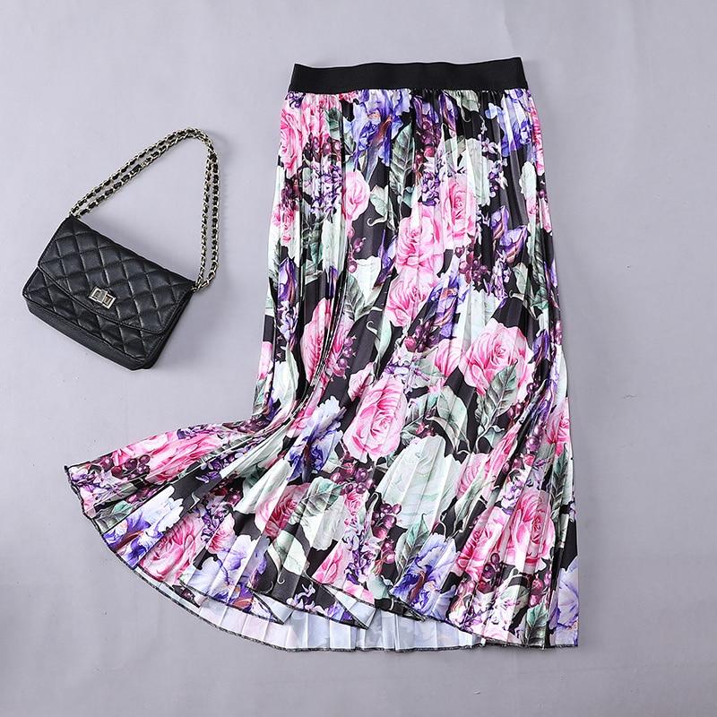 Verano Mujer Faldas plisadas 2020 estampado con diseño Floral imperio alta elástica mujeres Midi falda Big Swing Party Holiday High Street