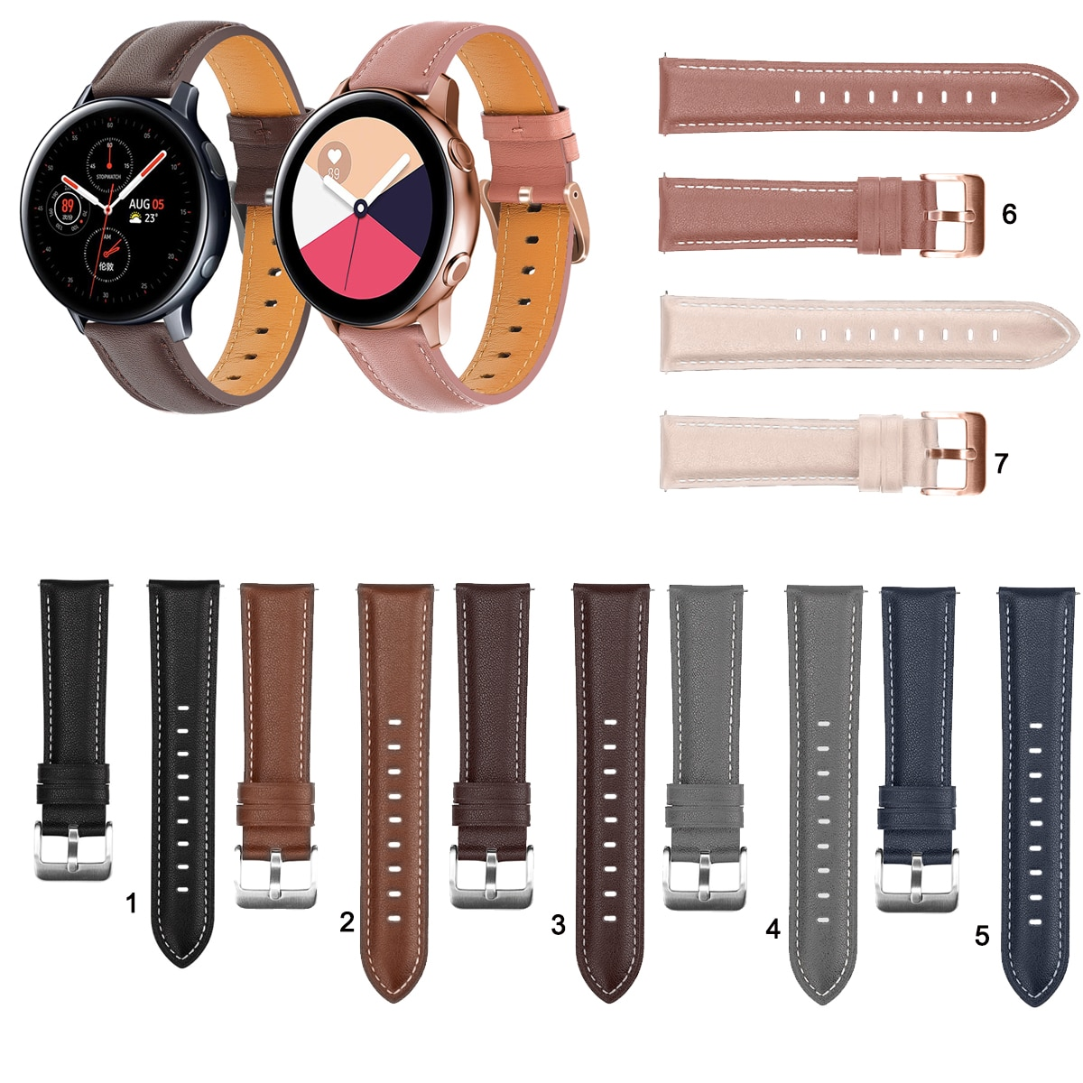 20mm 22mm Fashion Leather Watch Band Strap for Samsung Galaxy Watch Active 2 40mm 44mm Replacement Wrist strap Elegant Bracele