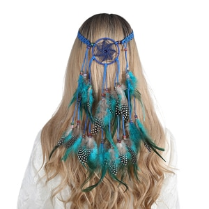 Haimeikang Bohemian Feather Dream Catcher Hair Bands For Women Elastic National Style Headband Peacock Hippie Hair Accessories