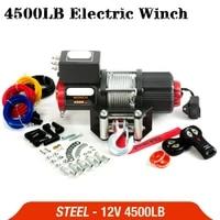 eu ru delivery electric winch 12v 4500lb remote control set heavy duty atv trailer high strength steel electric winch