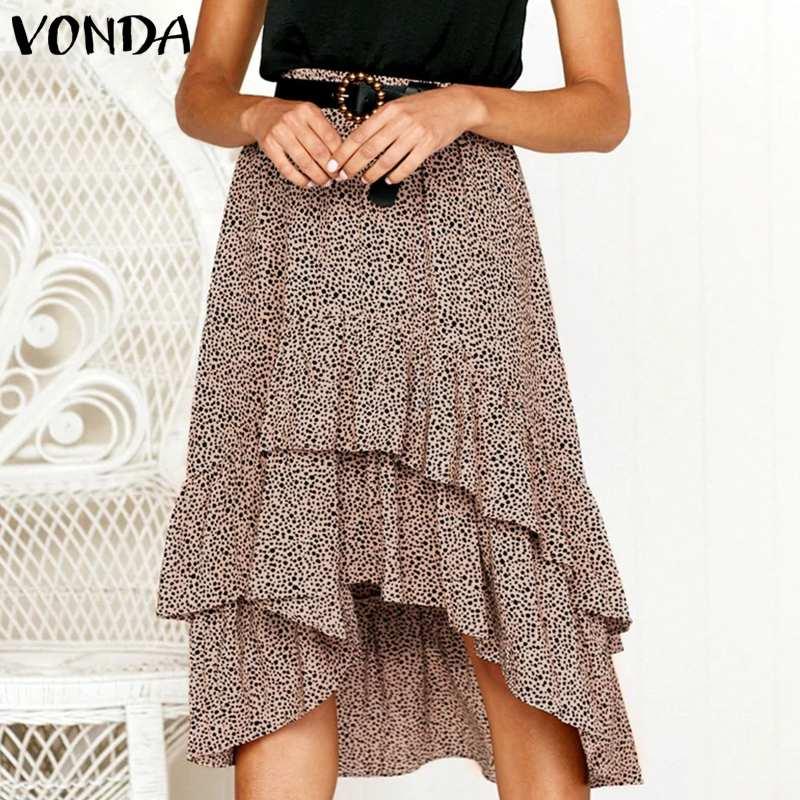 VONDA 2020 Women Skirts Summer Casual Elastic Waist Polka Dot Irregular Hem Midi Skirts Plus Size Holiday Beach Chiffon Skirt