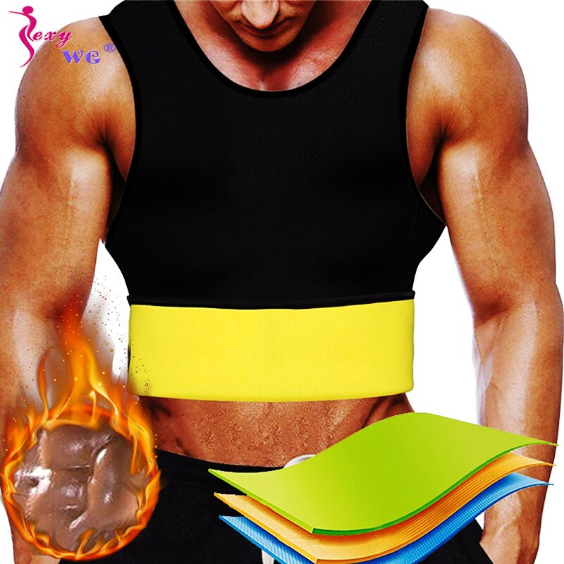 SEXYWG, camisas de Yoga para hombres, Top deportivo para correr, chaleco de compresión, Fat Tank, Shapewear, entrenador de cintura de adelgazamiento, Neopreno, Sauna, moldeadores corporales
