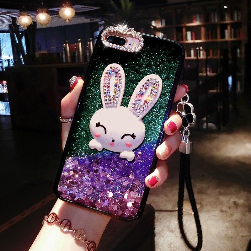 Funda protectora de cristal con Orejas de conejo para IPhone 11 Pro Max 6 7 8 6 S Plus X XS Max XR Quicksand