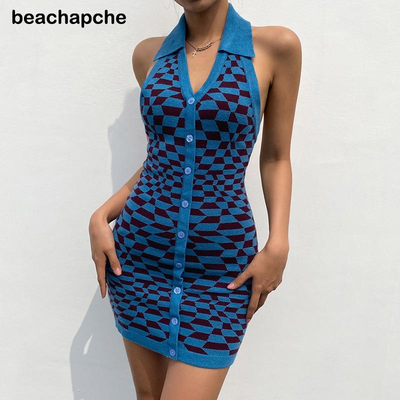 Beachapche Plaid Backless Knitted Tank Dress Women V Neck Vintage Sleeveless Bodycon Mini Dresses Ladies Button Up Party Summer
