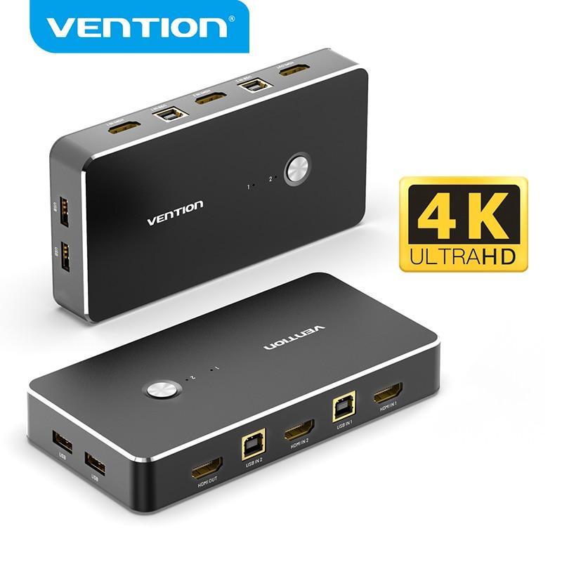 Ventie Hdmi Kvm Switcher Usb 2.0 Poorten 4K Usb Vga Schakelaar Kvm Spliiter Schakelaar Voor Delen Printer Toetsenbord Muis kvm Switch Vga