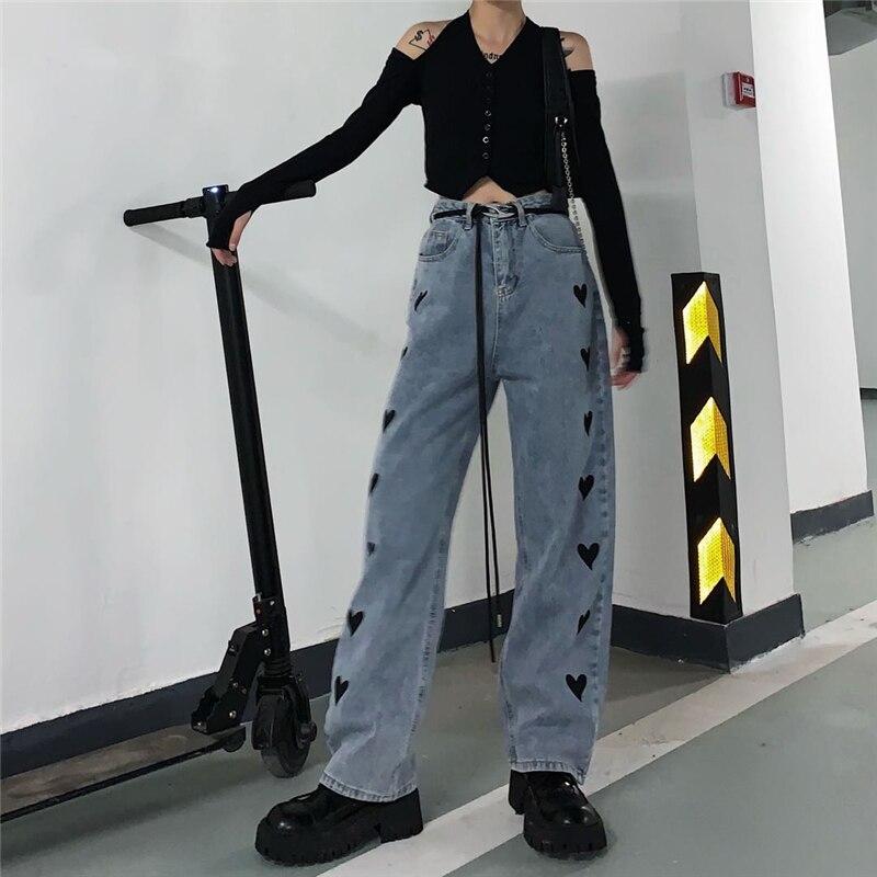 Vintage Heart Shape Printing Jeans Wide Leg Pants Women Korean Loose Straight Denim Pants 2021 Autumn Winter Fashion Trousers