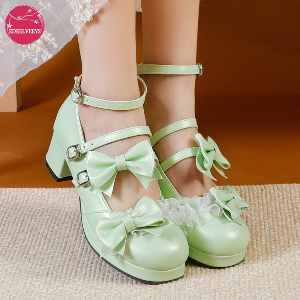 Lolita Shoes Women Platform Round with Cross Straps Bow Cute Girls Princess Tea Party Shoes Students