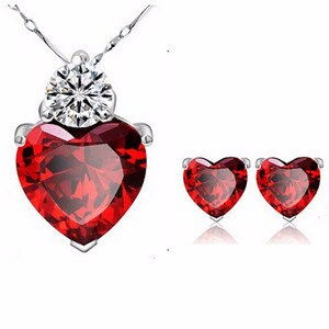Sell Jewelry Red Heart Zircon Earring NecKLACE Bride Accessories Set
