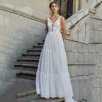 eightree beach boho wedding dresses 2021 lace appliques backless bride dress custom made bohomian wedding gowns vestido de noiva