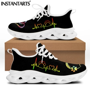 INSTANTARTS Gradient Color Dog Paw and Electrocardiogram Pattern Casual Sneakers for Women Comfortable Lace up Flat Shoes 2021
