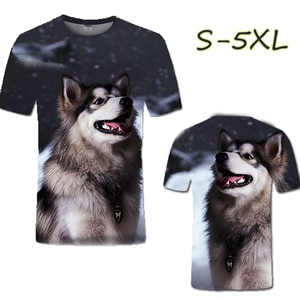 Summer Fashion 3D Stereo Cute Shepherd Round Neck Couple Large Size Short Sleeve Casual Top T-shirt (customizable Pattern)