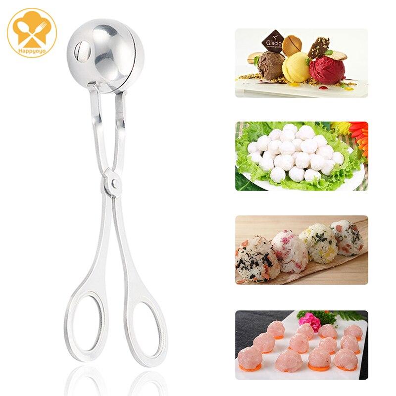 2 größen Edelstahl Frikadelle Maker Küche Gadget Home Made Frikadelle Fisch Fleisch Reis Ball Maker Cookie Eis Ball form
