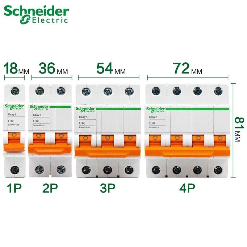 Schneider electric Mini Disjuntor Fácil 9 EA9AN 1p 2p 3p 4p C tipo 6A 10A 16A 20A 25A 32A 40A 50A 63A AC EA9AN * C **