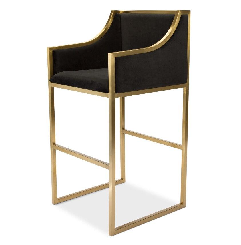 Лидер продаж, бархатный стул из нержавеющей стали с высокой ножкой, Бархатная обивка, барный стул, барный стул для дома, отеля