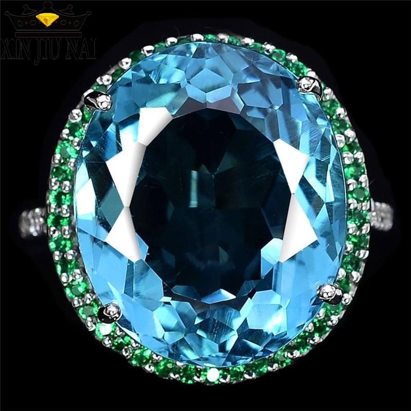 Anillos de circón de cristal azul con incrustaciones hiperbole, simples anillos verdes personalizados con piedra grande, anillo de zafiro para fiesta de banquetes