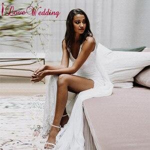 Elegant Lace Wedding Dresses Sexy V Neck Bridal Gown Custom made Sexy Spaghetti Straps Boho Style Wedding Gown