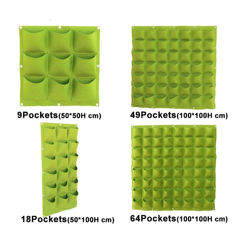 Suporte de plantas para parece, saco verde de plantio de vegetais com 4 9 18 49 72 bolsos, jardim vertical, parede vivo vaso plantador de tecido