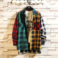 spring personality korean version of the trend of color matching plaid shirt mens casual hip hop loose long sleeved shirt 5xl