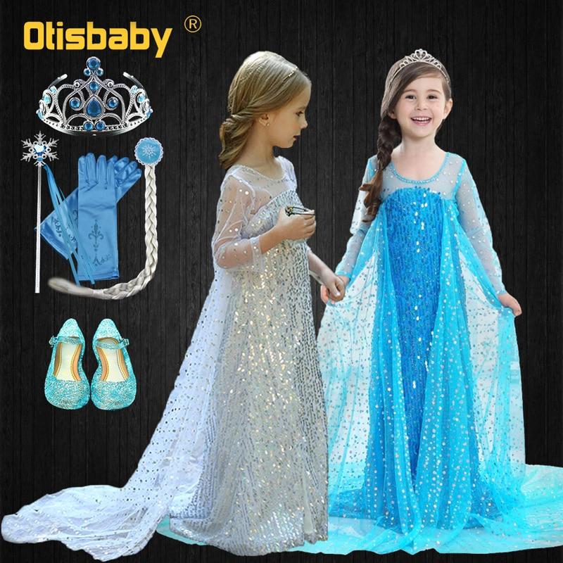 Платье с блестками для девочек, платье принцессы Эльзы для маленьких девочек, Летние Элегантные синие платья с длинными рукавами для дня ро...