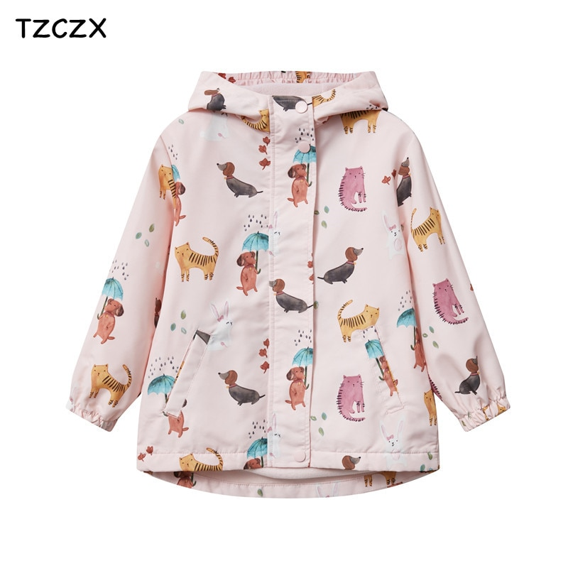 Windproof and rainproof Girl's Jackets outerwear Printing Cartoon Double layer fleece lining Children Coats for Spring/Autumn