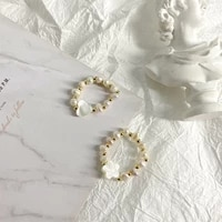 minar 2 designs white shell love heart flower elastic rings for women gold beaded irregular freshwater pearls ring accessories