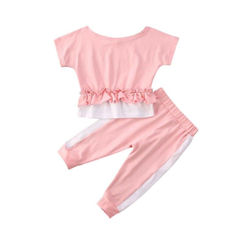Летняя спортивная одежда для маленьких девочек, топ с короткими рукавами и оборками + штаны, леггинсы, повседневная одежда, комплект из 2 пре...