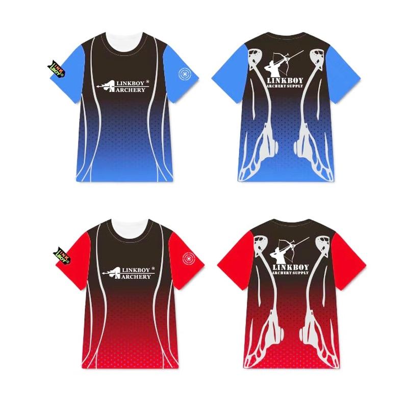 Linkboy tiro con arco caza tiro con arco Azul Rojo Camiseta 100% mangas de brazo de fibra de poliéster para tiro de caza arco compuesto tradicional