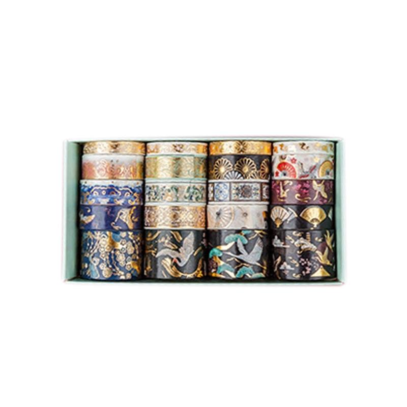 20 Pcs/Set Gold Foil Washi Tape Glitter Washi Tape Set Adhesive Tape DIY Scrapbooking Sticker Label Japanese Stationery