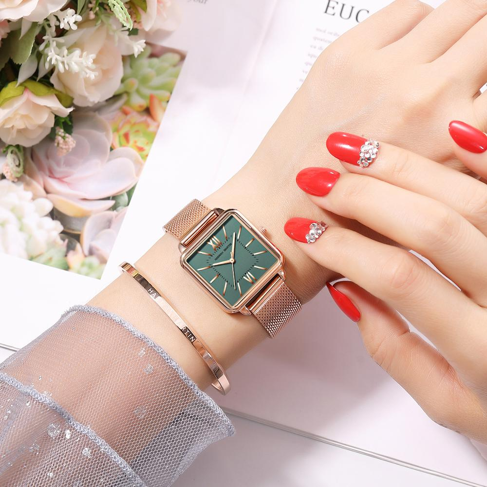 Top Luxury Watches Women's Quartz Wristwatches Woman Rose Golden Mesh Band Square Fashion Dial Clock Ladies Bracelet Watch Gift enlarge