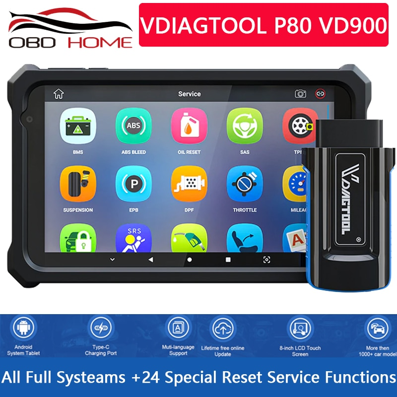 VDIAGTOOL P80 VD900 OBD2 Scanner TPMS DPF EPB Oil Full System Print Report Engine Scan Car Tools Diagnostic Brazil Chile popular