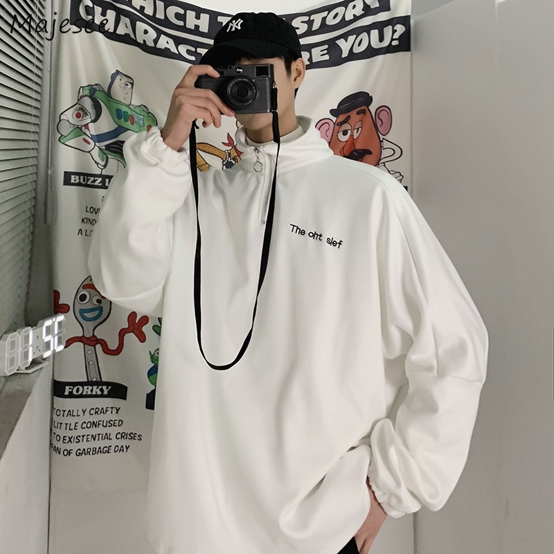 Hoodies masculinos harajuku simples diário ins todos os jogos streetwear estilo coreano chique camisolas novos pulôveres dos homens solto ulzzang casal