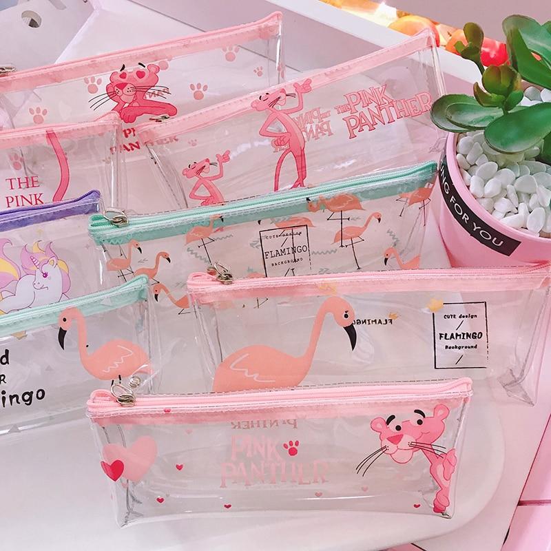 Милый прозрачный розовый пенал с пантерой, прозрачный пенал, каваи, фламинго, пеналы для Канцелярии для мальчиков, офисные школьные принадл...