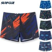 surfcuz mens swim briefs printed swimming boxer shorts quick dry swimwear 4 way stretch swim trunks square leg swimsuit for men