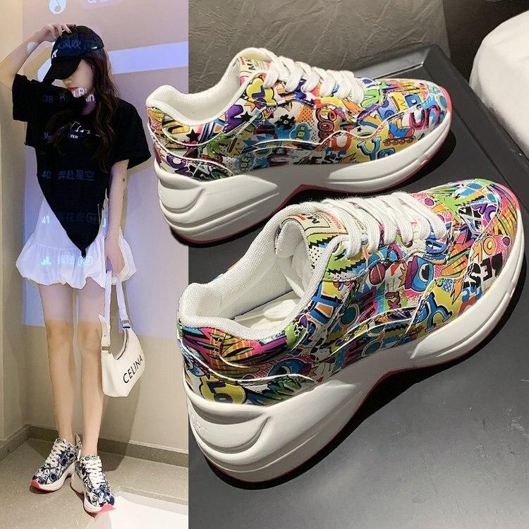 Fashion Graffiti Women Sneakers 2021 Autumn Women's Basket Female Chunky Casual Shoes Breathable Vul
