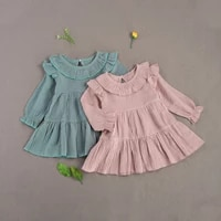 by toddler baby girl fall dress casual long sleeve round neck solid color ruffle a line loose dress